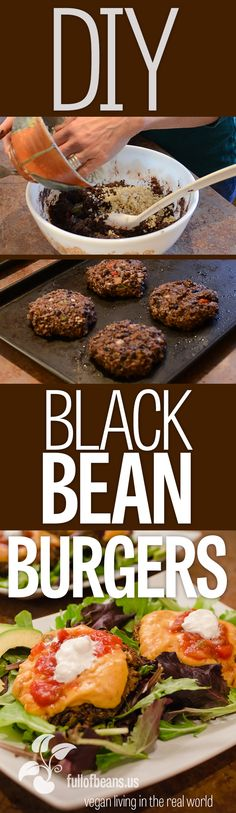 Black Bean Burgers are Awesome! You can easily make them yourself and the variety is endless. Check this post out and watch the video too :-) #vegan #diy #video #burger