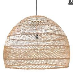 HK living online webwinkel, gratis verzenden HK-living hanglamp riet handgevlochten naturel beige 80x80x60cm VAA1095 by Villa Jipp