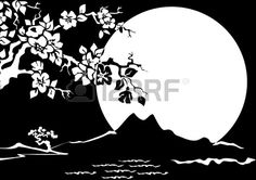 Illustration of Night Landscape. Sakura on the background of the full moon. Black and white illustration. vector art, clipart and stock vectors. Black And White Drawing, Black And White Illustration, Black White, Kirigami, Thermocol Craft, Paper Lace, Marble Art, Christmas Drawing, Stencil Art