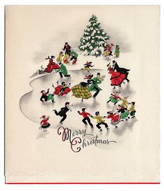 The Bishop's Wife. Ice skaters on a snowy winter day. Christmas Card Images, Vintage Christmas Images, Christmas Graphics, Old Fashioned Christmas, Christmas Scenes, Christmas Past, Retro Christmas, Vintage Holiday, Christmas Pictures