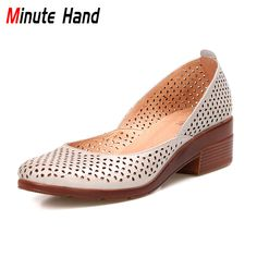 e63b9c27c14a Find More Women s Pumps Information about Minute Hand Cow Leather Summer  Women Pumps Fashion Hollow Out