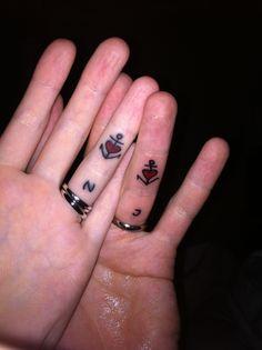 62d1e1de7 tattoo for couples, Heart Tattoos, anchor tattoos, tattoos for couples .  Tattoomaze · Cute Best Friend Finger Tattoo