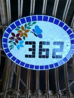 número de casa em mosaico