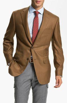 7106178fc Samuelsohn caramel blazer at Nordstrom. This look pairs handsomely with  dark grey slacks.