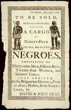 """An American broadside advertising a slave auction"" - Anonymous (1769). A yellow background with dark font and illustrations of two people dressed in leaves and cloth clothing."