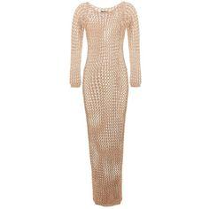 Balmain Cotton Crochet-Knit Maxi Dress ($970) ❤ liked on Polyvore featuring dresses, beige, beige crochet dress, cotton dress, knit dress, cotton day dresses and cotton crochet dress