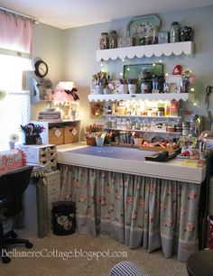 Bellamere Cottage: Where Bloggers Create Studio Tour!  the curtain around the desk - great way to hide clutter