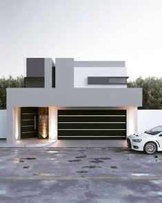 Main Facade: Modern-style houses by GB architect House Main Gates Design, House Outside Design, House Front Design, Modern House Design, Contemporary Design, Modern Bungalow House, Modern House Facades, Small House Exteriors, Modern Architecture