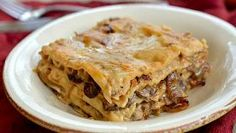 Creamy Mushroom and Caramelized Onion Lasagna — Three Many Cooks - veggies, pasta. Caramelized Onions And Mushrooms, Creamy Mushrooms, Stuffed Mushrooms, Stuffed Peppers, Party Dishes, Food Dishes, Vegan Dishes, Main Dishes, Roasted Ham