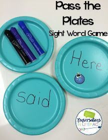 Pass the Plates. I write the sight words they are working to learn onto paper plates. The newest word or the word they are struggling with the most to learn gets a sticker. The students stand in a circle with the plates face down, one plate per student (or you can do less if you like). Play some music or set a timer for a few seconds. The students pass the plates in a circle. When the timer goes off, they turn over their plate and read their word. The child that has the plate with the s