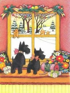 Scotties see Santa? (and maybe a squirrel too! Christmas Paintings, Christmas Art, Vintage Christmas, Christmas Holidays, Whimsical Christmas, Mary Engelbreit, The Night Before Christmas, Christmas Pictures, Vintage Cards