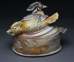 Carolina Wood Ducks Casserole by Catherine Stasevich Beacon Food, Pond Life, Ceramic Art, Ducks, Casserole, Signs, Studio, Wood, Madeira