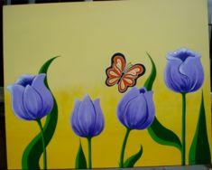 pintura quadro tulipas lilás