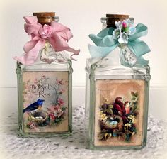 ♥ Decoupage on Glass ♥ see decoupage projects by DT Member Melissa Bove using various Crafty Secrets images from our Birds & Blossoms Scraps (used on bottles) to some of our digital downloads and CD's.