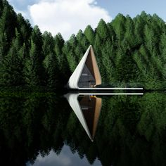 A modern cabin in the woods designed by MXM Architecture ~. Architecture Tools, Futuristic Architecture, Amazing Architecture, Contemporary Architecture, Contemporary Design, Dream House Exterior, Adobe Photoshop, Cabins In The Woods, Modern House Design