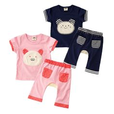 Summer 2017  Short Sleeved baby sets Pure Cotton Suit for baby boys girls clothes  shirt + pants pig child baby clothing #Affiliate