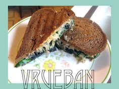 sliced rye bread jar of sauerkraut portobello mushrooms fresh spinach Vegan 1000 Island dressing (recipe)
