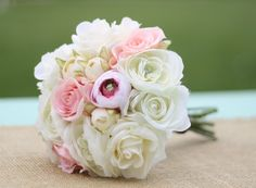 Bride Bouquet Garden Fresh Hand Picked White Cream by braggingbags, $74.99