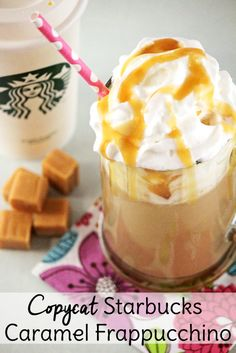 Enjoy a caramel frappuccino at home with this copycat Starbucks recipe.