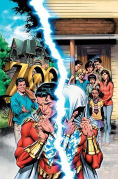 The adventures of a teenager whom the wizard Shazam endowed with the ability to transform into an adult superhero. Captain Marvel Shazam, Marvel Dc, Shazam Comic, Marvel Comics, Comic Books Art, Comic Art, Book Art, Superman, Wonder Twins