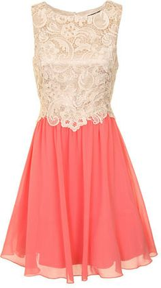 Little Mistress Cream And Coral Lace Dress on shopstyle.com