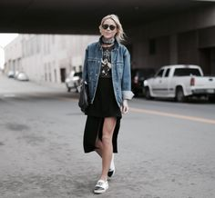 ALMOST | Happily Grey. Black band t-shirt+black asymmetric skirt+white and black slip-on shoes+denim oversized jacket+black clutch+black bandana+gold necklace+sunglasses. Spring Casual Outfit 2017