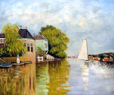 Houses on the Achterzaan Claude Monet Painting Handmade Landscape Oil Painting Home Decor Canvas Art for Living Room Frameless Monet Paintings, Watercolor Paintings Abstract, Artist Painting, Landscape Paintings, Watercolor Artists, Painting Lessons, Abstract Oil, Impressionist Artists, Impressionism Art