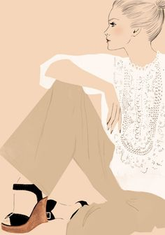 Chloe Broderie Anglaise blouse & wedge sandals by Phoebe Philo SS2006 fashion illustration by Sandra Suy