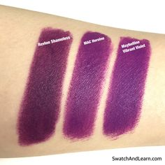 Comparison swatches of 3 lipsticks: Revlon ColorBurst Matte Balm in Shameless, MAC Lipstick (Matte) in Heroine, and Maybelline Creamy Matte Lipstick in Vibrant Violet.
