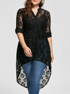 Feitong Plus Size Solid Top Blouse Women V Neck Long Sleeve Lace Shirt Perspective Button Up Blouse Loose Casual Female Tops /PY Curvy Fashion, Look Fashion, Plus Size Fashion, Womens Fashion, Cheap Fashion, Fashion Site, Fashion Online, Ladies Fashion, Fashion Ideas