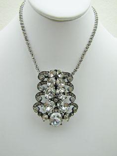 Art Deco Eisenberg Original Dress Clip Necklace Pendant. Sterling Silver.  Clear Crystal Rhinestone Brooch. Vintage Wedding Jewelry 1930 by MercyMadge on Etsy