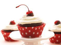 Chocolate-Chocolate Cherry Cupcakes recipe from Sandra Lee via Food Network