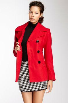 HauteLook Double Breasted Wool Blend Coat   Ellen Tracy Outerwear