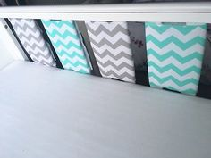 Handmade Cot Bar Bumpers Mint Green And Grey Chevron Zig Zags 💚
