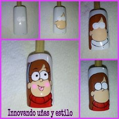 Siguenos en nuestras redes sociales instagram @innovandounasyestilo  facebook y youtube como Innovando uñas y estilo. Cartoon Nail Designs, Nail Art Designs Videos, Cool Nail Designs, Bling Nails, Diy Nails, Manicure, Picasso Nails, Anime Nails, Small Canvas