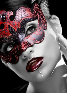 Red Masquerade/Carnival Mask and Lips. Fantasy Photography.