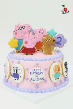Peppa Pig Family & Friends Birthday cake Icing cookies decoration
