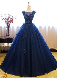 Navy Blue Tulle Cap Sleeves Quinceanera Dresses, Blue Beaded Ball Gown – BeMyBridesmaid Navy Blue Quinceanera Dresses, Navy Blue Dresses, Evening Dresses, Prom Dresses, Formal Dresses, Quince Dresses, Dress Prom, Ball Dresses, Tulle Lace
