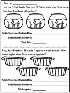 Arrays worksheets and Array Centers Array Worksheets, Math Worksheets, Teaching Math, Maths, Teaching Ideas, Repeated Addition Multiplication, Second Grade Math, Grade 2, Language Arts Worksheets