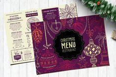 Christmas Menu Designs – Free and Premium Templates | EntheosWeb Blog Food Menu Template, Printable Menu, Menu Templates, Invitation Templates, Print Templates, Design Templates, Dessert Restaurants, Christmas Party Invitation Template, Japanese Menu