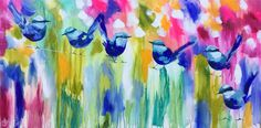 Splendid wrens Impressionist Paintings, Gifts For Mum, Arts And Crafts, Wrens, Butterfly, Birds, Flower Paintings, Canvas, Ballerina