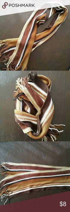 Striped Brown Scarf Cozy and warm, browns and white striped scarf. Perfect to go with any color brown. Accessories Scarves & Wraps
