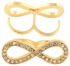 Amazon.com: Ladies Gold with Clear Iced Out Thick Infinity Sign Double Finger Ring One Size Fits All: Jewelry