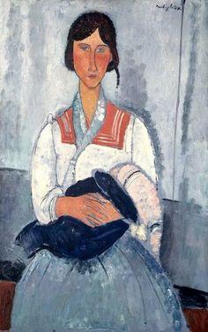 Amedeo Modigliani - Gypsy Mother and Child, 1919