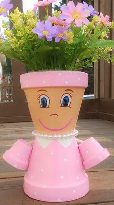 Little Miss Clay Pot People Terracotta Planter Kleine Miss Tontopf Menschen Terrakotta Blumentopf Flower Pot Art, Clay Flower Pots, Terracotta Flower Pots, Flower Pot Crafts, Painted Flower Pots, Clay Pots, Flower Pot People, Clay Pot People, Clay Pot Projects