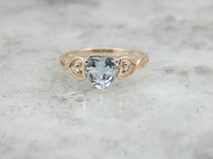 Aquamarine Heart And Bright Diamond Cocktail Ring by MSJewelers