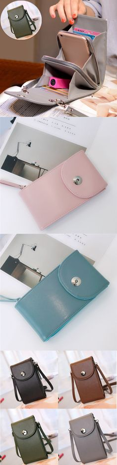 [$ 19.76]   Vintage PU Leather Universal 6inch Shoulder Phone Bag For iPhone Samsung Huawei Xiaomi