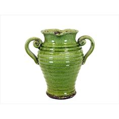 Urban Trends Collection 76043 12 in. H Ceramic Tuscan Green Vase #UrbanTrendsCollection