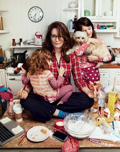 Tina Fey with daughters Penelope and Alice