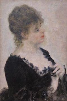 Pierre-Auguste Renoir Portrait of a Young Woman 1876 Neue Pinakothek Munich München. Pierre Auguste Renoir, Barbizon School, Post Impressionism, Pointillism, French Artists, Portrait, Beautiful Paintings, Munich, Art Drawings